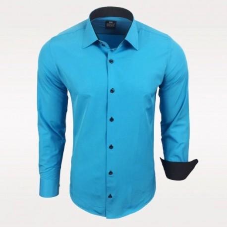 Pánská košile Slim Fit s dlouhým rukávem Rusty Neal tyrkysová 16789d7cdb