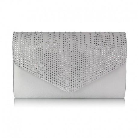 Dámské elegantní šedé psaníčko zdobené kamínky
