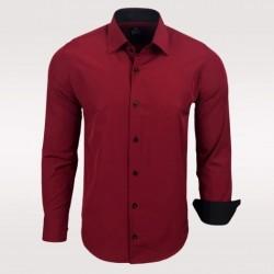 Pánská košile Slim Fit s dlouhým rukávem Rusty Neal vínová