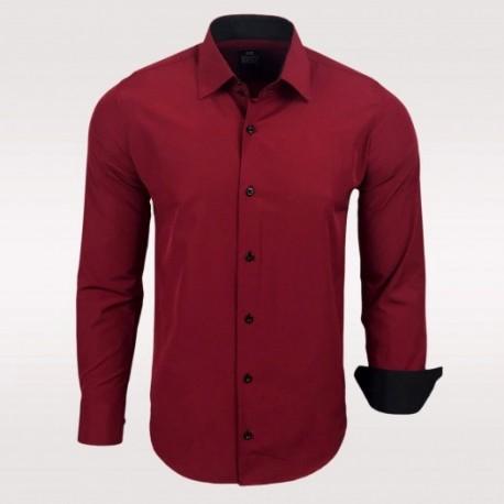 cd2b5a919b7 Pánská košile Slim Fit s dlouhým rukávem Rusty Neal vínová