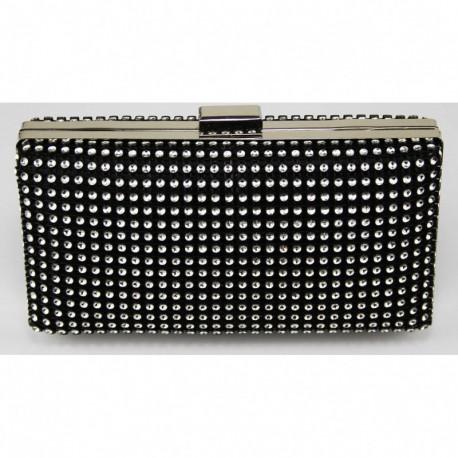 Dámské luxusní psaníčko zdobené kamínky černé, Barva Černá L&S Fashion LSE29