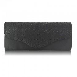 Dámské elegantní psaníčko zdobené kamínky černé LS253