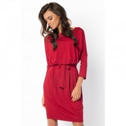 Elegantní šaty s 3/4 rukávem vínové
