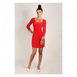 Dámské šaty s dlouhým rukávem červené