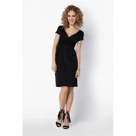 Dámské elegantní šaty s krátkým rukávem černé 79a08a824d