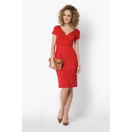 Dámské elegantní šaty s krátkým rukávem červené