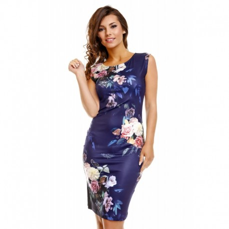 Dámské šaty Samantha tmavě modré s květy b5f8eef71c