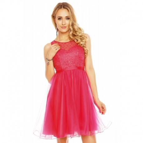 Dámské společenské šaty bez rukávů CATHERINE malinové 1650852581