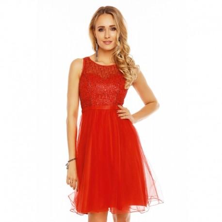 Dámské společenské šaty bez rukávů CATHERINE červené 245028d2f4