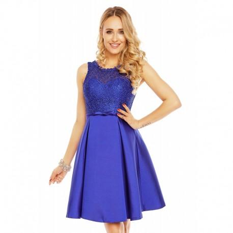184cd7e1a7ae Dámské šaty doplněné krajkou Charm´s Paris modré