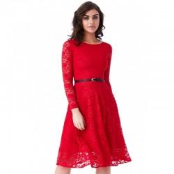 Krajkové společenské šaty s dlouhým rukávem červené