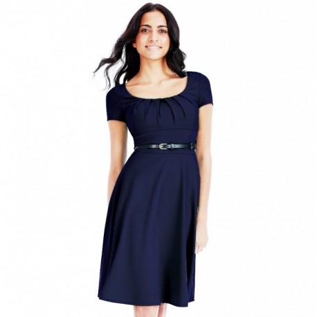 Dámské šaty Beth 622 tmavě modré, Velikost 36, Barva Tmavě modrá CityGoddess DR622C