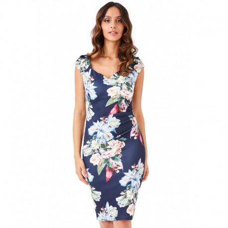 Dámské šaty CityGoddess květinové Chloe tmavě modré