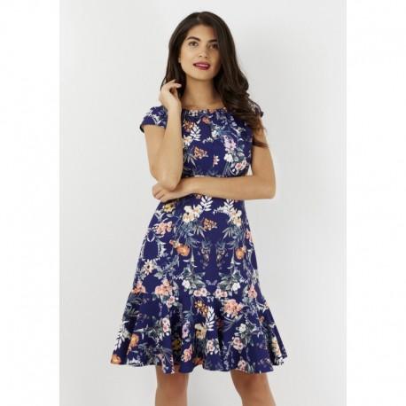 Dámské modré šaty s květy Closet London 91e2c135bf