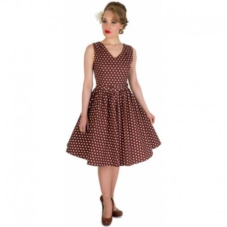 Dámské retro šaty Dolly and Dotty Wendy hnědé s bílou