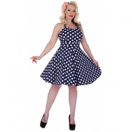 a3a54ade80aa Dámské retro šaty Dolly and Dotty Sylvia tmavě modré s bílou