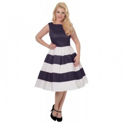 Dámské retro šaty Dolly and Dotty Anna tmavě modré s bílou