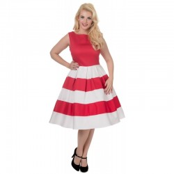 Dámské retro šaty Dolly and Dotty Anna červené s bílou
