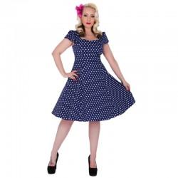 Dámské retro šaty Dolly and Dotty Claudia tmavě modré