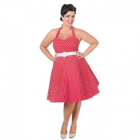 a20f23e6642a Dámské retro šaty Dolly and Dotty Cirle Red White Polka