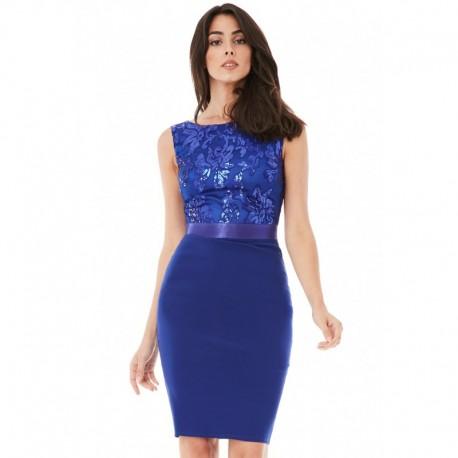 Dámské šaty bez rukávu zdobené flitry modré, Velikost 36, Barva Modrá GODDIVA DR581