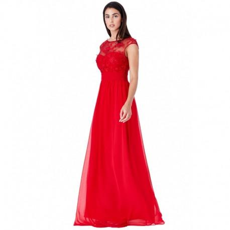 Plesové a společenské šaty Luren červené, Velikost 40, Barva Červená GODDIVA DR1043