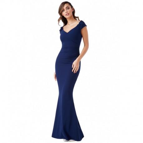 Společenské a plesové šaty Francesca tmavě modré, Velikost 36, Barva Tmavě modrá GODDIVA DR840B