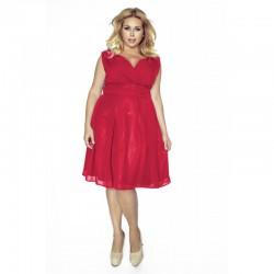 Krásné dámské šaty šifonové bez rukávu červené 1173
