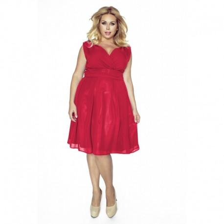 Krásné dámské šaty šifonové bez rukávu červené 1173, Velikost 48, Barva Červená Kartes KM117-3PS