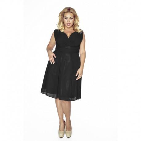 202595a81c6d Krásné dámské šaty šifonové bez rukávu černé 1171
