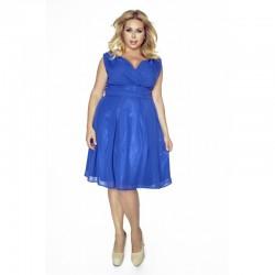 Krásné dámské šaty šifonové bez rukávu modré 1174