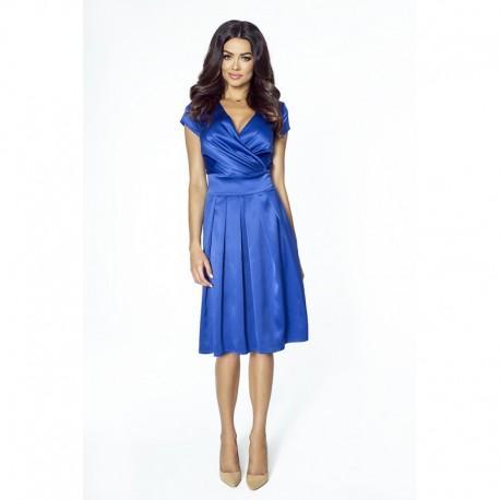 Luxusní dámské šaty s výstřihem do V modré 2092, Velikost 36, Barva Modrá Kartes KM209-2