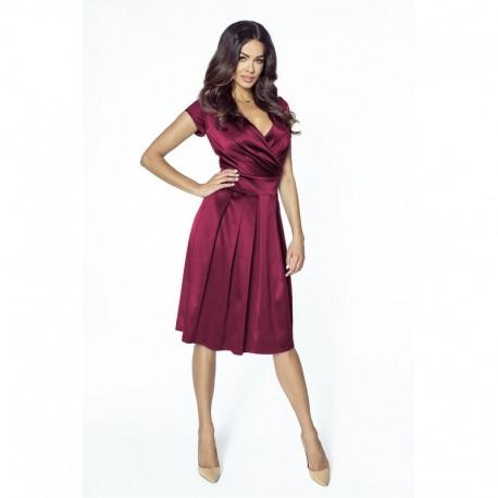 Luxusní dámské šaty s výstřihem do V vínové 2094 a502e3d131
