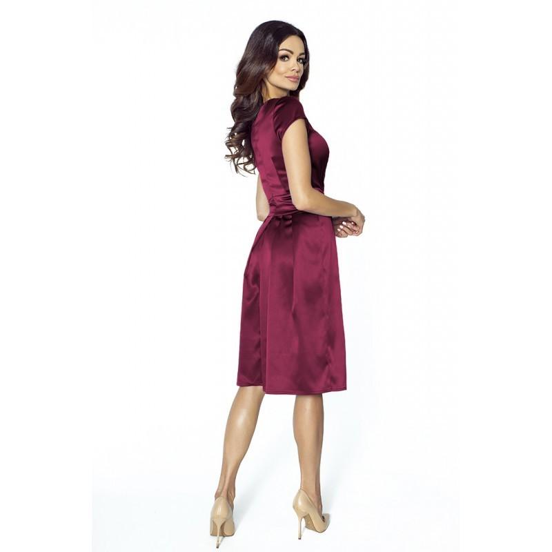 Luxusní dámské šaty s výstřihem do V vínové 2094 18ff717384
