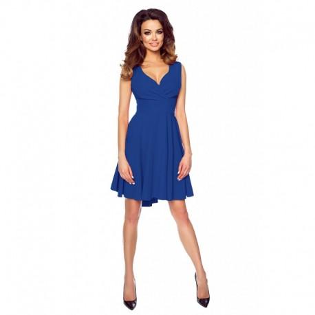 Luxusní dámské šaty s asymetrickou sukní modré 1552, Velikost 36, Barva Modrá Kartes KM155-2