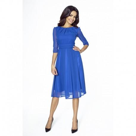 Elegantní šifonové šaty s 3 4 rukávem modré 2112 f6490447b4