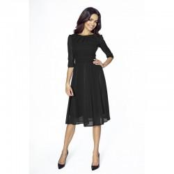 Elegantní šifonové šaty s 3/4 rukávem černé 211