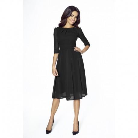 Elegantní šifonové šaty s 3 4 rukávem černé 211 6ce243b89d