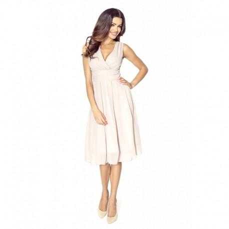 Krásné dámské šaty šifonové bez rukávu světle béžové a41cd6c196