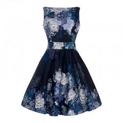 Dámské retro šaty Lady Vintage Black Grey Rose Floral Collage