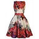 Dámské retro šaty Lady Vintage Red Rose Floral Collage