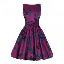 Dámské retro šaty Lady Vintage Purple Butterfly