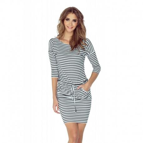 f140348db597 Dámské sportovní šaty se zavaz. tkanicí a kapsami v námořnickém stylu šedo- bílé