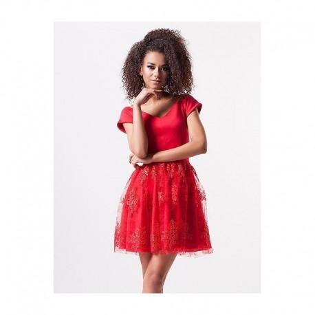 Luxusní dámské šaty EMILY s krajkovou sukní červené, Velikost L, Barva Červená MOSQUITO