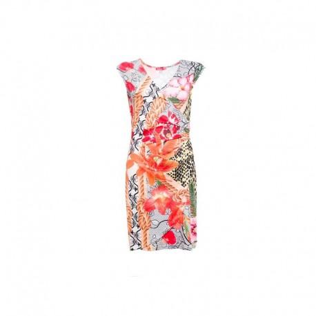 Dámské moderní vzorované šaty bez rukávu AVELINA, Velikost S, Barva Barevná Smash! S1683004