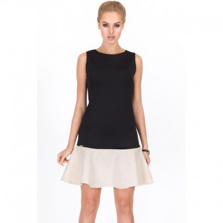 Dámské moderní šaty bez rukávu černé s béžovou a vzorem, Velikost 38, Barva Černá Makadam
