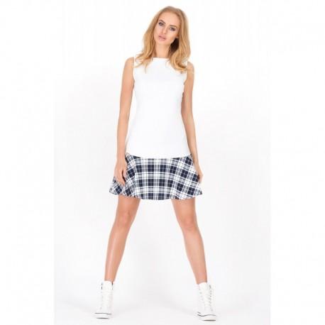 409dbeb22155 Dámské moderní šaty bez rukávu bílé se vzorem
