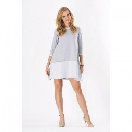 Dámské šaty moderního stylu s 3 4 rukávem světle šedé 2aefcd775b
