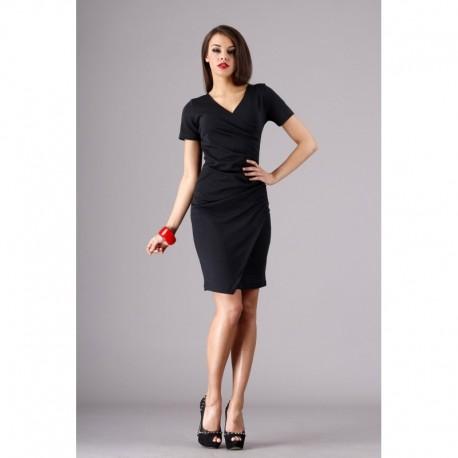 Dámské elegantní společenské šaty s krátkým rukávem černé f5593fdc7f