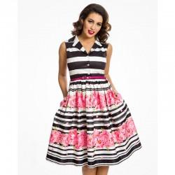 Dámské retro šaty Matilda Stripe Floral Border